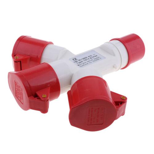 Roter 380V 16 Ampere industrieller Steckdose 3 Wege Teiler wasserdichtes