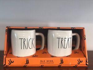 Rae-Dunn-Halloween-Collection-By-Magenta-LL-TRICK-TREAT-Coffee-Mug-Set-of-2