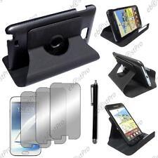 Housse Coque Etui Rotatif 360 PU Cuir Noir Galaxy Note 2 N7100 +Stylet 3 Film