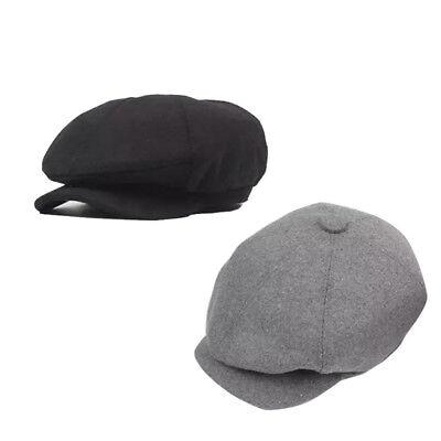 New Mens Warm Tweed Newsboy Cap Peaky Blinders Baker Boy Flat Check Grandad Hat
