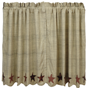 "ABILENE STAR Tier Set Cafe Curtains Window Applique Dark Cream Rustic 36/"" VHC"