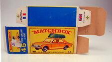 "Matchbox RW 45B Ford Corsair leere originale ""E3"" Box guter Zustand"