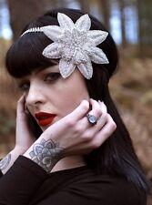 Silver Rhinestone Flower Headpiece Vintage 1920s Flapper Headband Bridal 30s R48