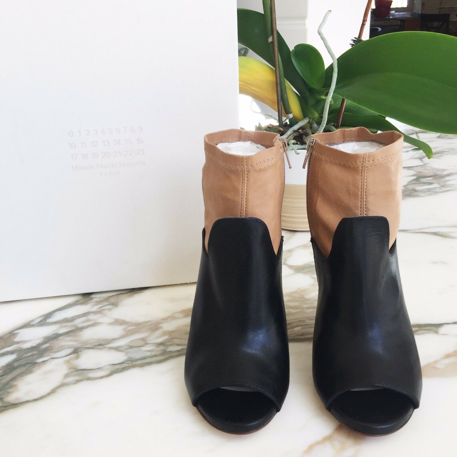 New MAISON MARTIN MARGIELA 2 Tone Leather Open Toe Boots High Heeled Ankle Boots