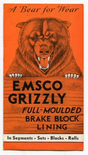 "Old Sales Brochure ""EMSCO GRIZZLY"" Brake Block Lining"