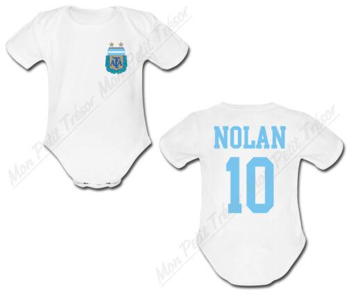 Body Bébé Football Maillot Argentine personnalisé avec prénom et numéro au dos