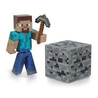 minecraft overworld steve action figure with axe iron ore block new series 1 Toys