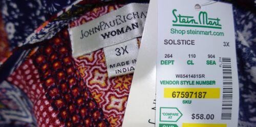 John Paul Richard Women Plus Size 1x 2x 3x Navy Blue Crochet Tunic Top Blouse
