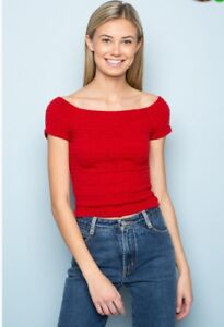 e2772dbd1b81d6 Image is loading Brandy-Melville-red-cropped-smoked-off-shoulder-charlene-
