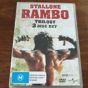 Rambo Trilogy 3 Disc DVD Set  R4 Like New! FREE POST