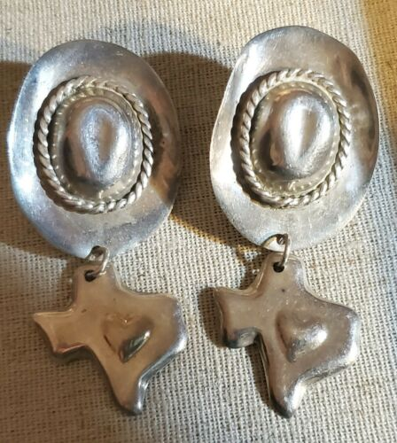 Large Vintage Mexican Sterling State Of Texas Cowb