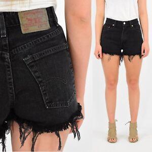 87b34a0c63b Details about Vintage Women's Levi's Black High Waist Shorts 550 551 Denim  2 4 10 12