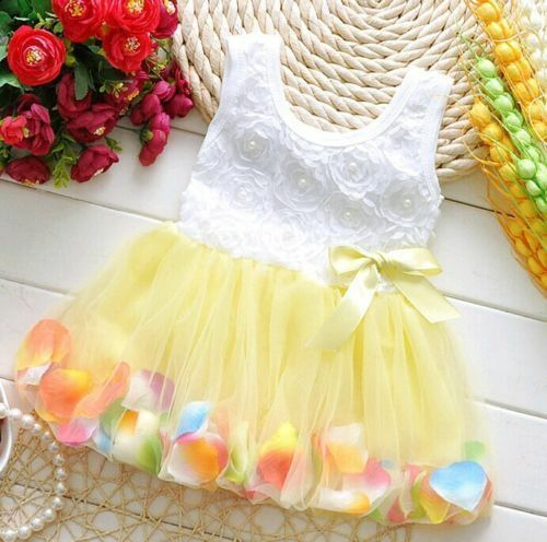 Princess Girls Party Dress Kids Infant Floral Sleeveless Wedding Tutu Lace Dress