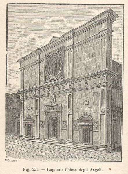 100% Vero B1991 Lugano - Chiesa Degli Angeli - Incisione Antica Del 1928 - Engraving Avere Una Lunga Posizione Storica