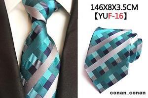 attrayant et durable 100% d'origine chercher Détails sur Turquoise Cravate Gris et Argent Carreaux à Motifs Fait 100%  Soie Mariage
