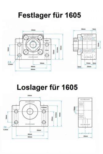 Kugelumlaufspindel 1605 x 300mm komplett Festlager Loslager Spindel CNC Fräse 3D