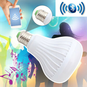 LUCE-LED-BLUETOOTH-WIRELESS-CON-ALTOPARLANTI-LAMPADINA-RGB-e-27-SMART-della-musica-Lampada-Remote