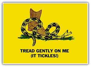 gadsden flag usa tread gently on me funny car bumper vinyl sticker