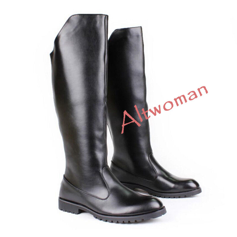 Hot Fashion Men's Tall Boots Faux Leather Motorcycle Zipper Riding Casual shoes