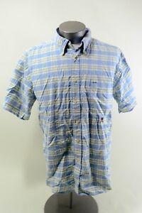 TOMMY-HILFIGER-Men-039-s-Button-Up-Blue-Green-Plaid-Short-Sleeve-dress-Shirt-XL-EUC