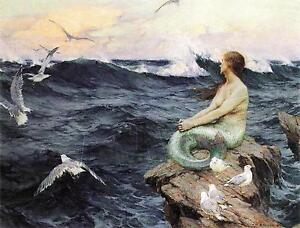 VINTAGE VICTORIAN MERMAID SEA NYMPH OCEAN SEAGULL *CANVAS* ART PRINT - LARGE