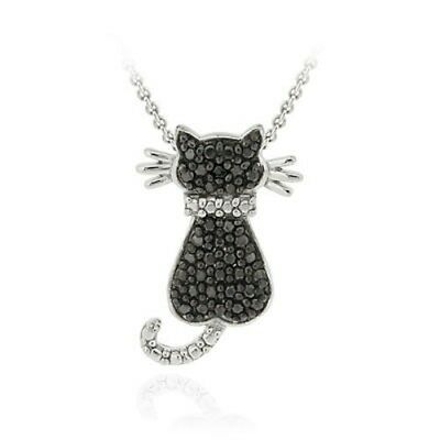 925 Silver Treated Black Diamond Accent Cat Necklace 18