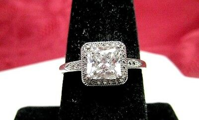 IBB CN 925 STERLING SILVER CZ PRINCESS CUT CUBIC ZIRCON ENGAGEMENT RING  SIZE 8 | eBay
