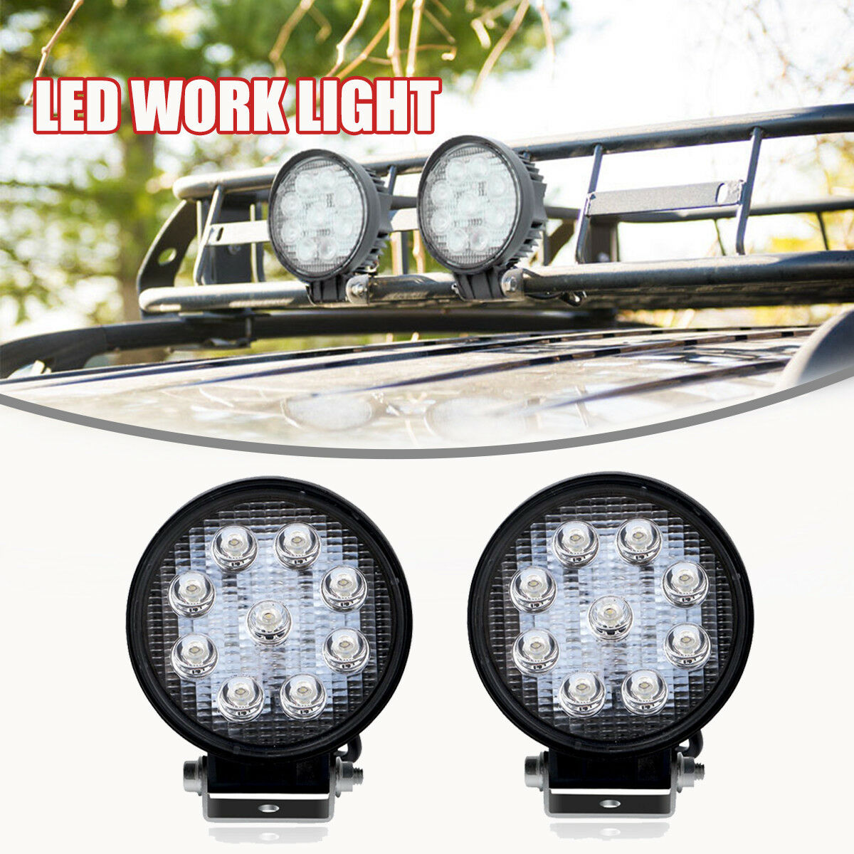 2X 4INCH 18W CREE LED WORK LIGHT BAR DRIVING SPOT BEAM SUV ATV UTE JEEP TRUCK