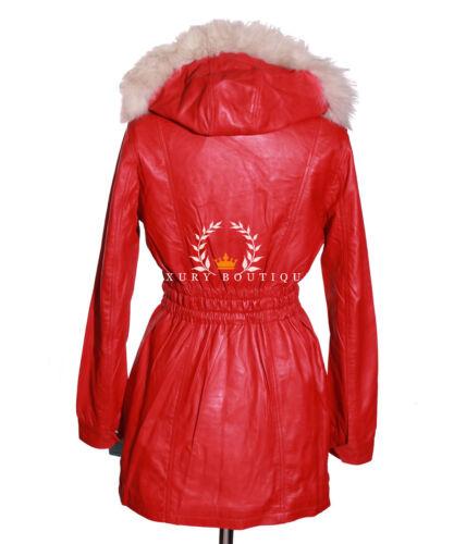 de dames rouges Long rouges de à cuir en veste capuche de designer d'agneau manteau A7qOwvAPT