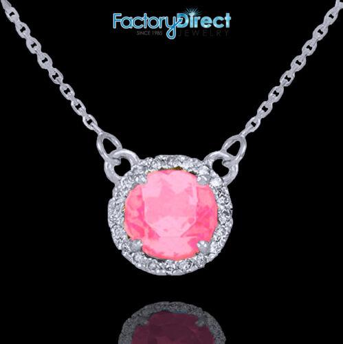 14k White Gold Diamond Pink Tourmaline October Necklace
