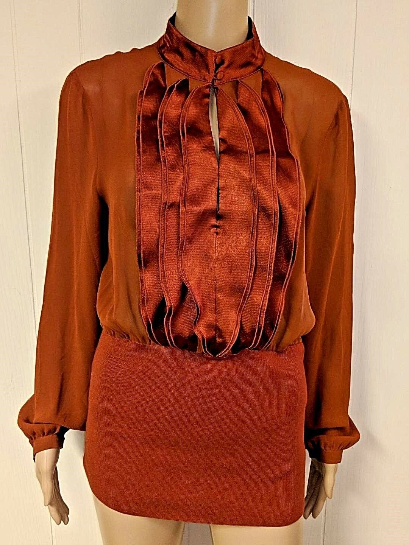 BOTTEGA VENETA Sheer Silk Blouse L Long Sleeve