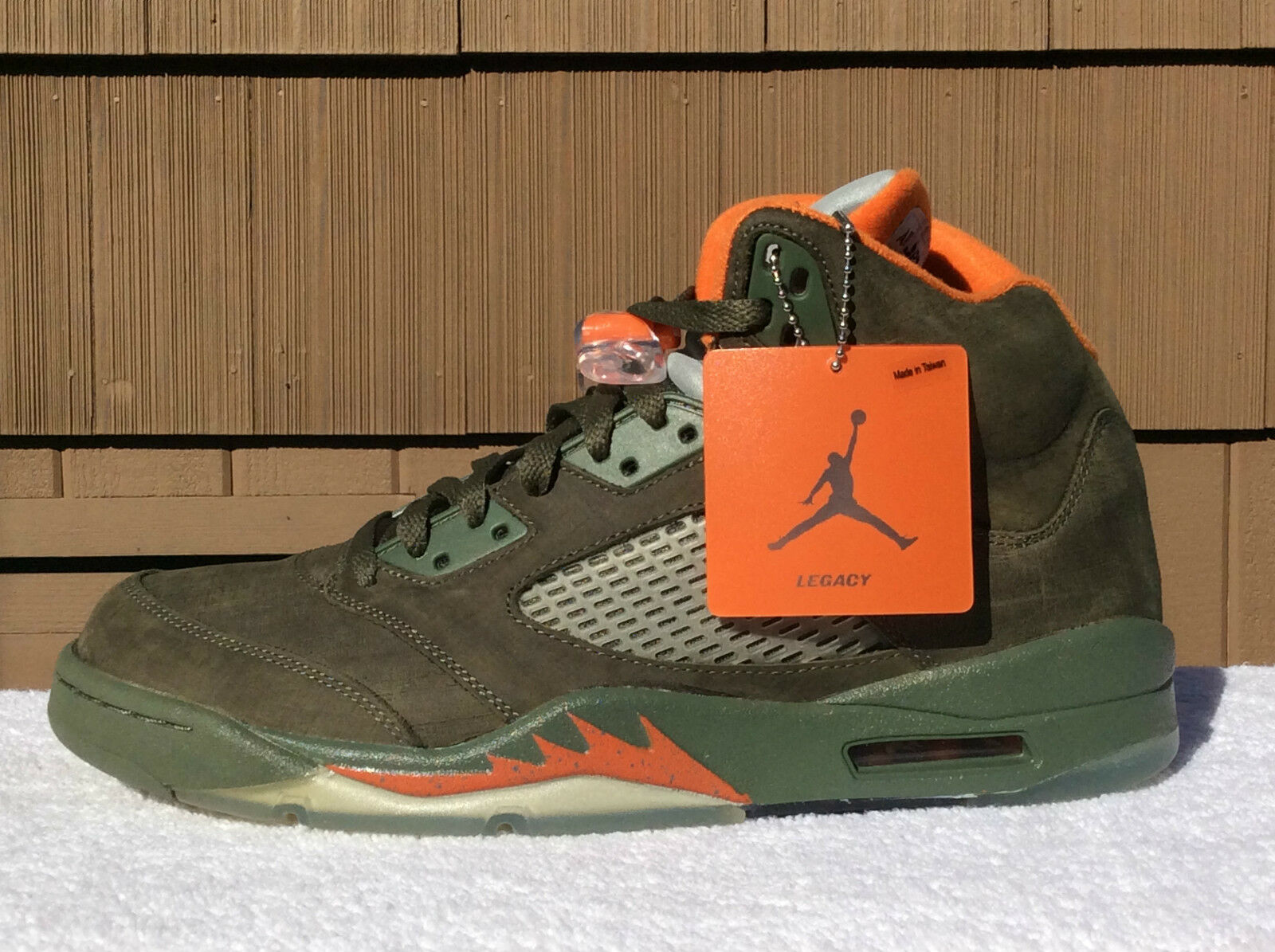 Nike Air Jordan V 5 LS Army Olive/ Orange Size 10.5 DEADSTOCK 314259-381 (2006)