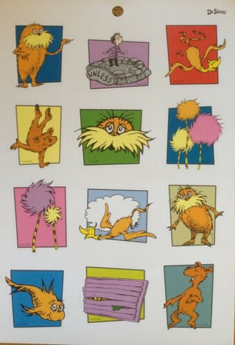 DR SEUSS The LORAX Stickers 4 Sheets Humming-fish Bar-ba-loots Truffala Thneed