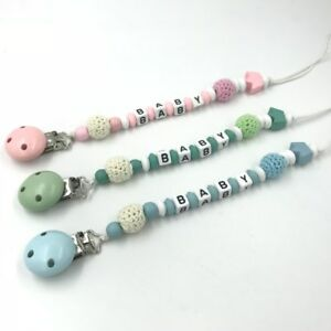 Safety Wooden Baby Pacifier Chain Crochet Round Beads Baby Pacifier