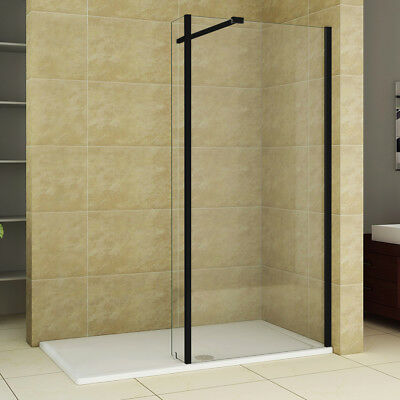 Walk in Wet Room Shower Enclosure Black Screen Cubicle Tray + Glass Return Panel