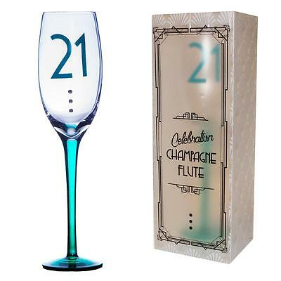 18th Clear Birthday Champagne Flute with Coloured Stem /& Diamantes