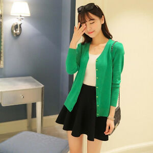 1 Piece New Clothing Solid Color Polyester Cardigan Sweater Coat V Neck LIne