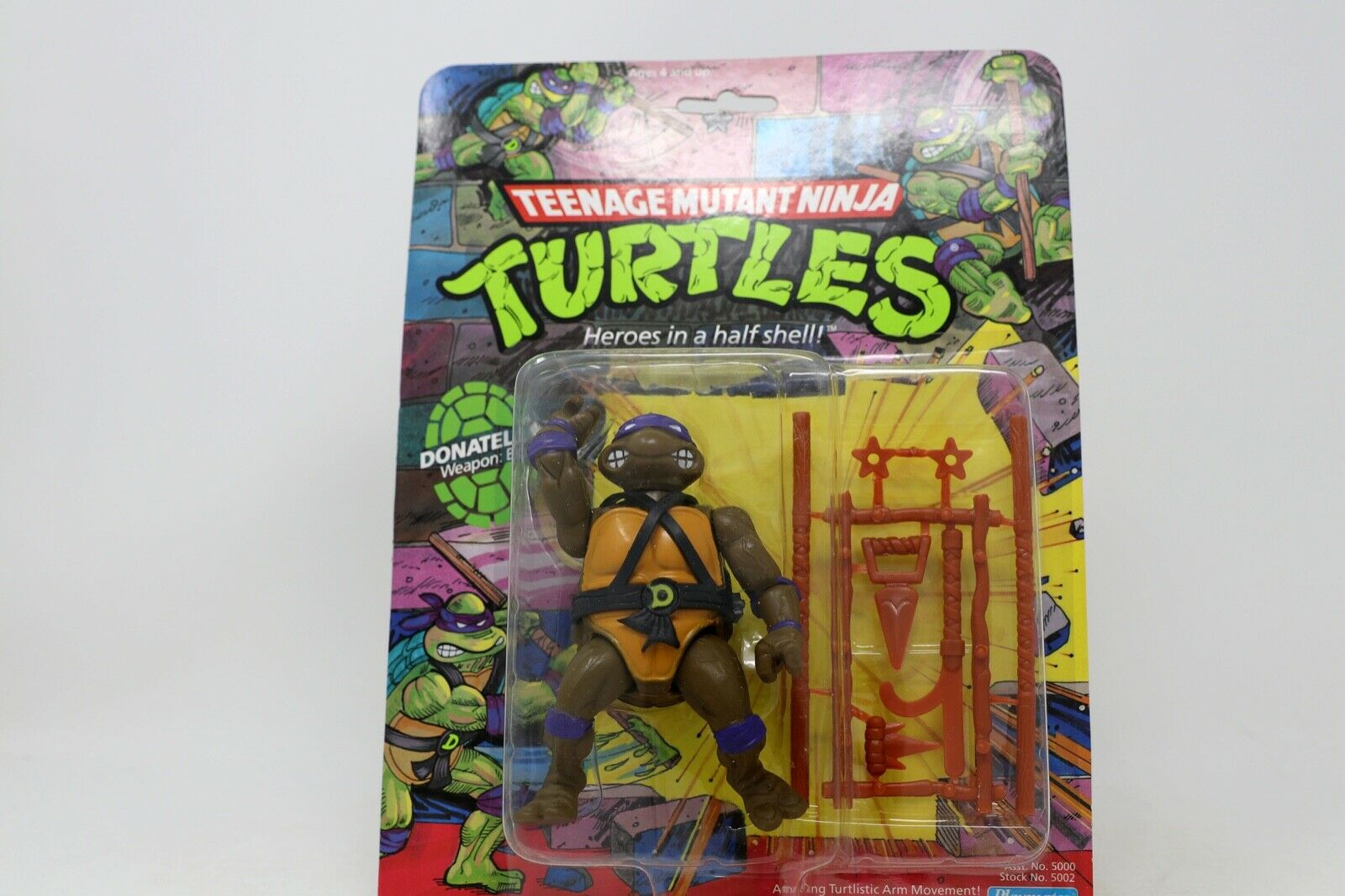 Vintage Jugarmates 1988 Teenage Mutant Ninja Turtles menta en tarjeta Donatello