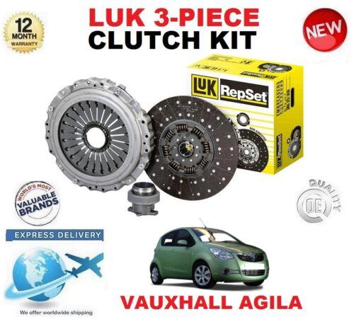 FOR VAUXHALL AGILA 1.2 i 16V HATCHBACK 2008-2014 ORIGINAL LUK 3 PIECE CLUTCH KIT