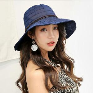 7ad26e3bf676dc Beach Sun Hats Travel Cap Folding Wide Brim Floppy Caps Women Summer ...