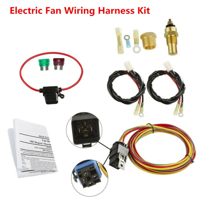 dual electric engine cooling fan wiring harness 185 165 thermostatdual electric engine cooling fan wiring harness 185 165 thermostat 40a relay kit ebay