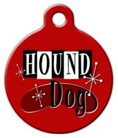 Retro Hound Dog - Custom Personalized Pet Id Tag For Dog And Cat Collars