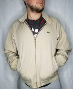 Lacoste-Izod-Vintage-Mens-Large-Harrington-Barracuta-Full-Zip-Plaid-Lined-Jacket