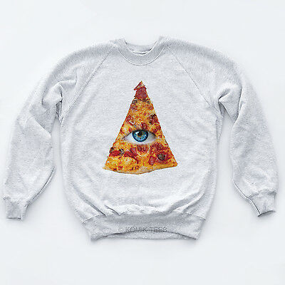 ILLUMINATI PIZZA EYE NEW SWEATER Swag Indie Triangle Obey DGK Hipster Sk8 Jumper