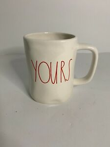 Rae Dunn YOURS Coffee/Tea Mug - Ceramic, Christmas Red Excellent Condition