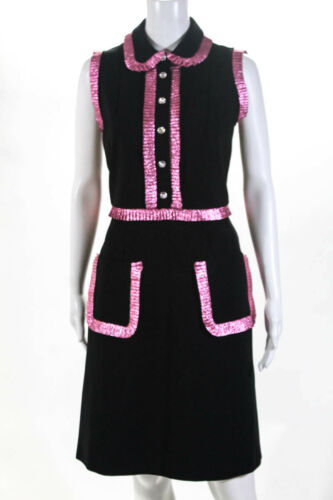 Gucci Womens Shirt Dress Size Large Black Metallic