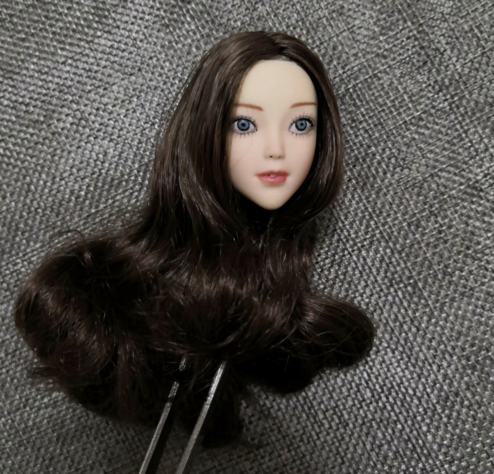 1 6 Beauty Anime Girl Head Carving Long Curls Hair Cartoon Girl Head Model Toy