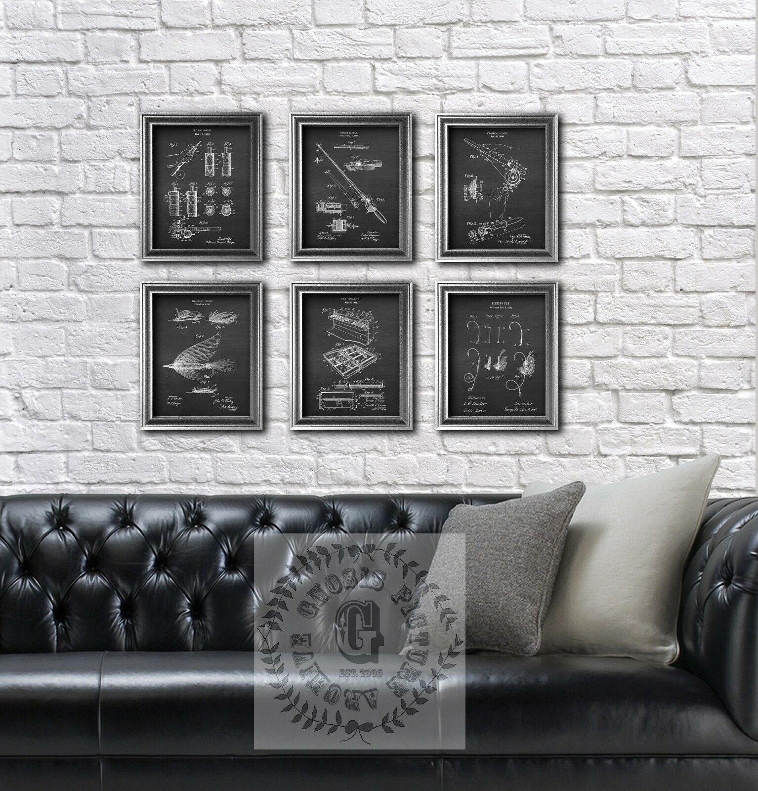 Fly fishing gear wall decor set of 6 unframed art prints Fishing Gift for him