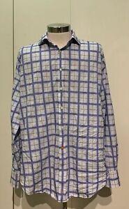 Thomas-Dean-Men-s-XL-Long-Sleeve-Button-Down-Dress-Shirt-Purple-White-Plaid
