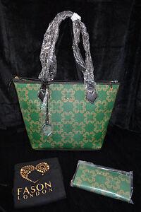 Borsa 180 a oro oro spalla e verde £ Rrp libera borsa con tracolla verde nero oro motivo tracolla trapuntata rosso Fason Nero a a rwqxS7gXTr